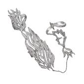 Кольцо Пламя с россыпью фианитов из серебра на два пальца и на две фаланги