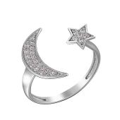 Кольцо открытое Полумесяц и Звезда с фианитами из серебра