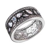 Кольцо с фианитами из серебра с чернением