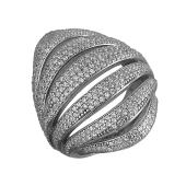 Кольцо широкое с фианитами из серебра 925 пробы