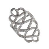Кольцо Dream широкое с ажурным узором и фианитами из серебра 925 пробы