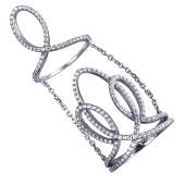 Кольцо на две фаланги с фианитами из серебра 925 пробы