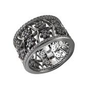 Кольцо Цветы с фианитами из серебра с чернением