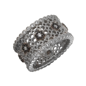 Кольцо Соты с фианитами из серебра