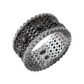 Кольцо Соты с фианитами из серебра с чернением