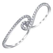 Кольцо Dream на два пальца с фианитами из серебра 925 пробы