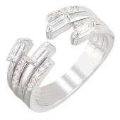Кольцо Dream разомкнутое с дорожками фианитов из серебра 925 пробы