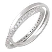Кольцо двойное с дорожкой фианитов, серебро