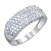 Кольцо широкое с россыпью фианитов из серебра 925 пробы