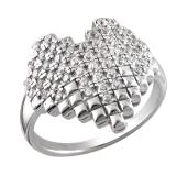Кольцо Сердце с фианитами из серебра 925 пробы