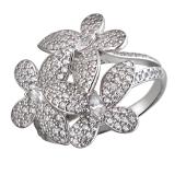 Кольцо Бабочка с фианитом из серебра 925 пробы