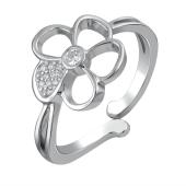 Кольцо Цветок с фианитом из серебра 925 пробы