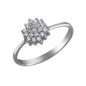 Кольцо Цветок с фианитами, серебро