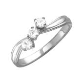 Кольцо с тремя фианитами, серебро