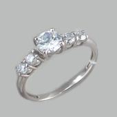 Кольцо с пятью фианитами, серебро