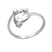Кольцо детское открытое Hello Kitty с фианитом из серебра