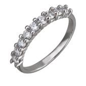 Кольцо Дорожка с фианитами, серебро