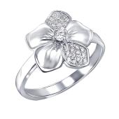 Кольцо Цветок с фианитами из серебра 925 пробы