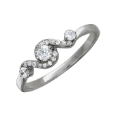 Кольцо Волна с фианитами, серебро