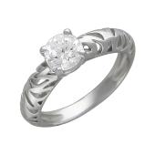 Кольцо тигровое с одним фианитом, серебро
