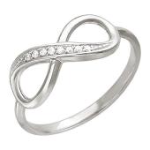 Кольцо Бесконечность с фианитами, серебро