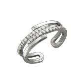 Кольцо разомкнутое с фианитами на ногу или на фалангу, серебро