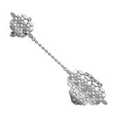 Кольцо фаланговое двойное с фианитами и цепочкой, серебро