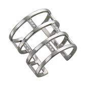 Кольцо с фианитами широкое, кирпичная кладка, серебро