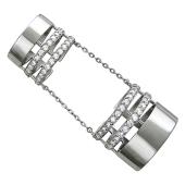 Кольцо на две фаланги с фианитами, серебро