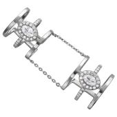 Кольцо двойное фаланговое с фианитами, серебро