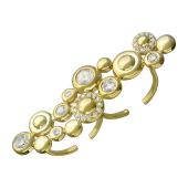 Кольцо на два пальца Пузырьки с фианитами, серебро с позолотой