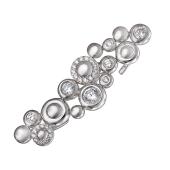 Кольцо на два пальца Пузырьки с фианитами, серебро