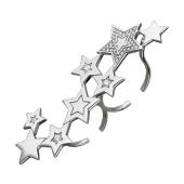 Кольцо двойное на два пальца Звездочки с фианитами, серебро