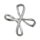 Кольцо широкое с фианитами, серебро