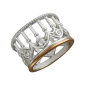 Кольцо Европа с колоннами, фианитами и золотым покрытием, серебро