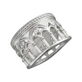 Кольцо Европа с колоннами с фианитами, серебро
