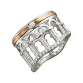 Кольцо Европа с фианитами, серебро с золотым покрытием