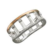 Кольцо Колизей с фианитами, серебро с золотым покрытием