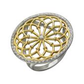 Кольцо Рим с фианитами, серебро с позолотой