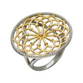 Кольцо Рим с фианитом, серебро с позолотой