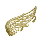 Кольцо Крыло с фианитами, серебро с золотым покрытием
