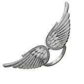 Кольцо широкое Крылья с фианитами, серебро