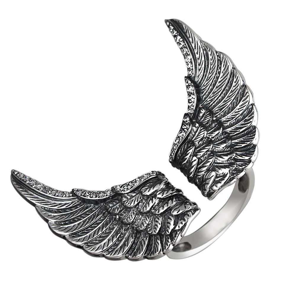 Кольцо Крылья, серебро с чернением