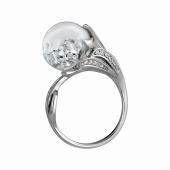 Кольцо со стеклянной колбой наполненной кристаллами, серебро