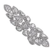 Кольцо длинное на две фаланги усыпанное фианитами, серебро