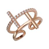 Кольцо с крестиками и фианитами разомкнутое, серебро позолотой
