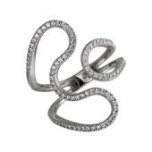 Кольцо широкое разомкнутое Петли с фианитами, серебро