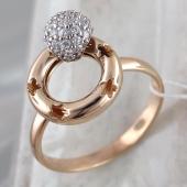 Кольцо Небо с вращающимся шариком с фианитами на круге с узором цветок, красное и белое золото 585 проба