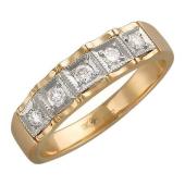 Кольцо Дорожка с фианитами, желтое и белое золото