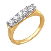 Кольцо с пятью фианитами бриллиантовой огранки, желтое и белое золото